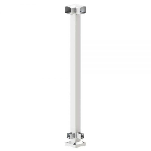 Glossy polished white corner post used for aluminum railing