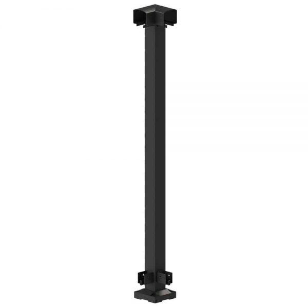 Glossy polished black corner post used for aluminum railing