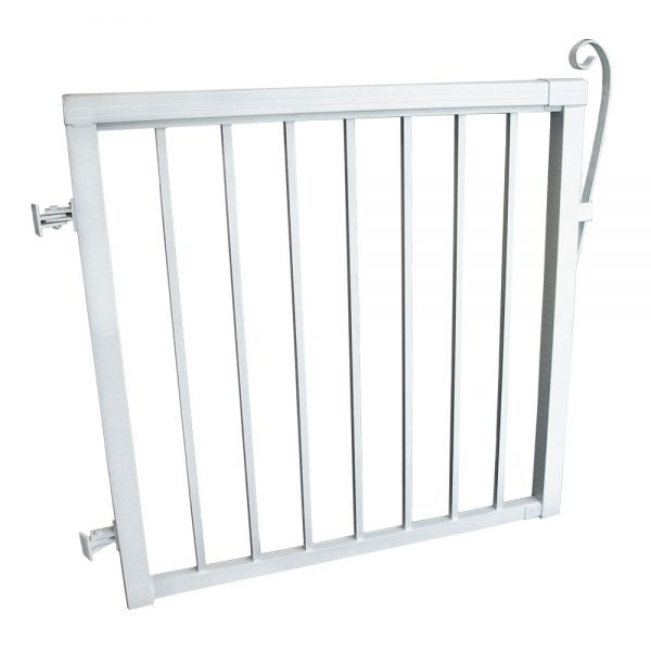 42-inch x 40-inch White Aluminum Gate with Standard Aluminum Pickets