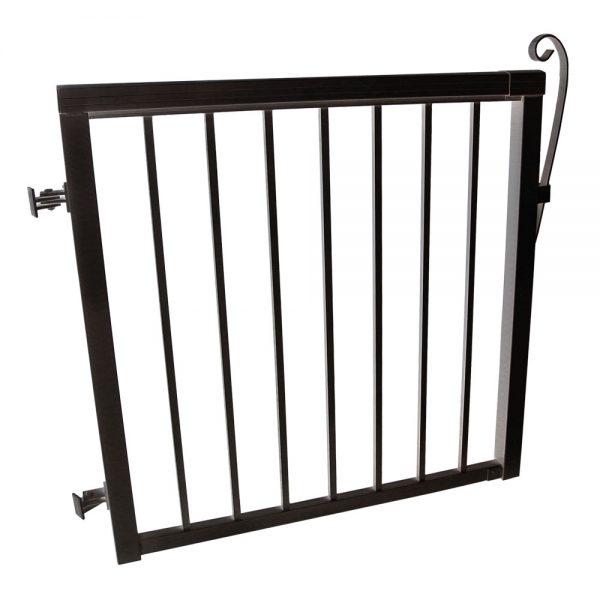 42-inch x 40-inch Black Aluminum Gate with Standard Aluminum Pickets