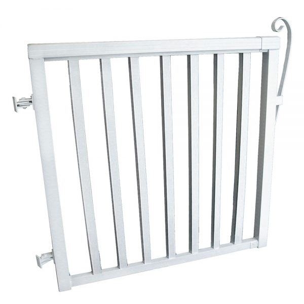 42-inch x 40-inch White Aluminum Gate with Wide Aluminum Pickets
