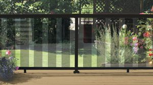 Black 6 Inch Tinted Glass Panel Railing