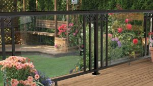 Black Large Glass Panel with Wide Pickets and Decorative Spacers Railing