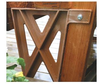 Deck Bench Bracket in Redwood Color in use