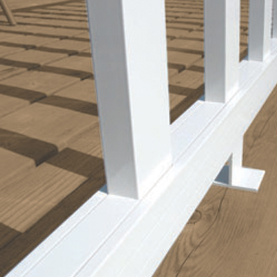 White wide pickets fitting in the ground