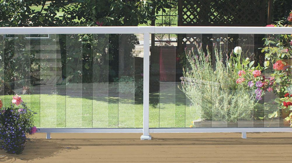 White 6 Inch Clear Glass Panel Railing