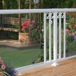 White Large Glass Panel with Wide Pickets and Decorative Spacers Railing