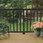 Wide Black Picket Railing on deck