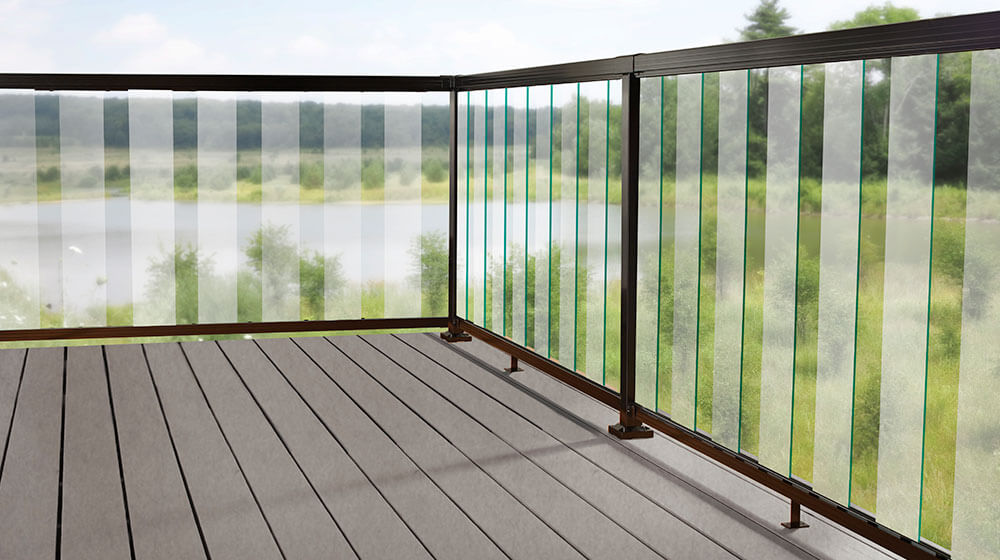 Black Aluminum Railing with 6-inch Clear Glass Panel