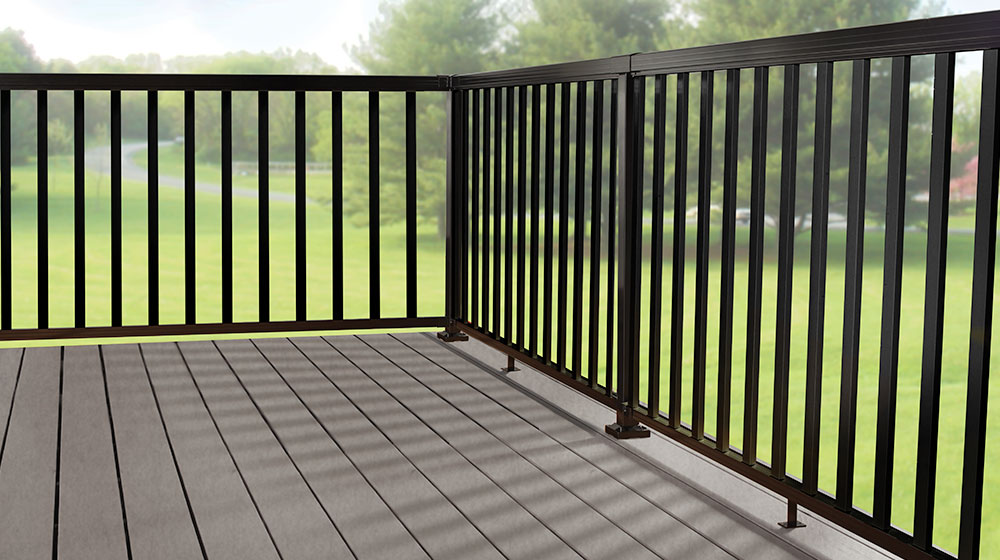 Black Aluminum Railing with Wide Pickets