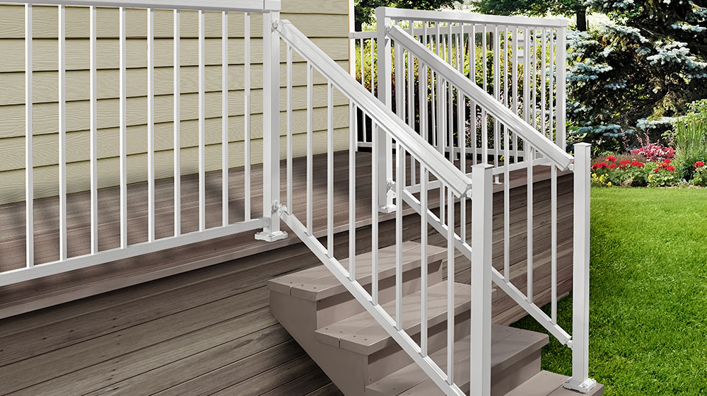White Stair Standard Pickets and Aluminum Railing with Stair Posts and Base Cover