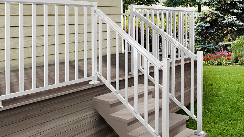 White Stair Wide Pickets and Railing
